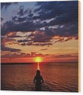 Pamlico Sound Hatteras Island Sunset 3 5/10 Wood Print