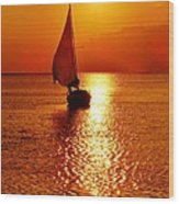 Pamlico Sound Sunset 3 7/26 Wood Print
