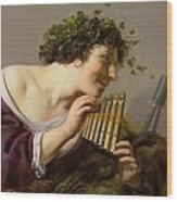 Pan Playing His Pipes Wood Print by Paulus Moreelse