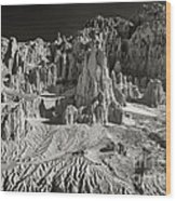 Panaca Sandstone Formations In Black And White Nevada Landscape Wood Print