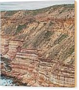 Panaromic Photo Of Red Bluff Beach Wood Print