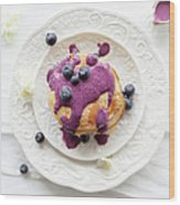 Pancakes With Blueberry Sauce Wood Print