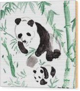 Panda Family Wood Print