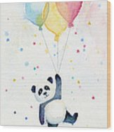 Panda Floating With Balloons Wood Print