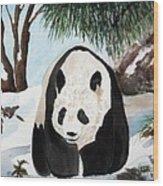 Panda On Ice Wood Print