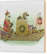 Pandabears Christmas Wood Print
