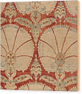 Panel Of Red Cut Velvet With Carnation Wood Print