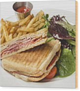 Panini With Ham Melted Cheese French Fries And Salad Wood Print