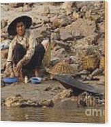 Panning For Gold Mekong River 1 Wood Print