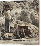 Panning For Gold Mekong River 2 Wood Print
