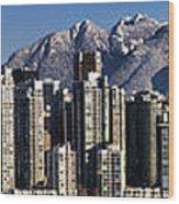 Pano Vancouver Snowy Skyline Wood Print by David Smith