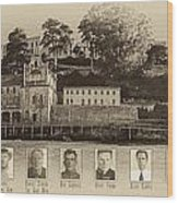 Panorama Alcatraz Infamous Inmates Sepia Wood Print
