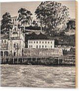 Panorama Alcatraz Shaky Sepia Wood Print