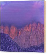 Panorama Alpenglow On Mount Whitney Eastern Sierras California Wood Print