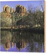 Panorama At Red Rocks Crossing In Sedona Az Wood Print