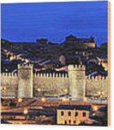 Panorama Avila Spain Wall At Night Wood Print