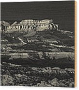 Panorama Bryce Canyon Storm In Black And White Wood Print