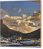 Panorama Cape Town Harbour At Sunset Wood Print