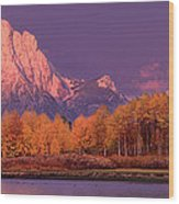 Panorama Dawn Lights Up Mount Moran In Grand Tetons National Park Wood Print