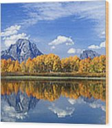 Panorama Fall Morning At Oxbow Bend Grand Tetons National Park Wood Print