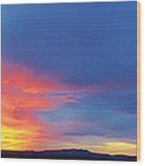 Panorama Fire In The Sky Sunset Wood Print