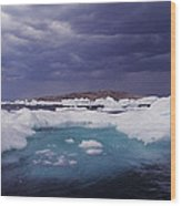 Panorama Ice Floes In A Stormy Sea Wager Bay Canada Wood Print