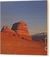 Panorama Moonrise Over Delicate Arch Arches National Park Utah Wood Print