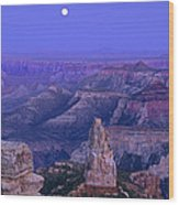 Panorama Moonrise Over Point Imperial Grand Canyon National Park Wood Print
