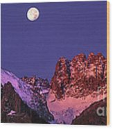 Panorama Moonset Middle Palisades Glacier Eastern Sierras California Wood Print