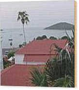 Panorama Of Charlotte Amalie Bay Wood Print by Russell Windle