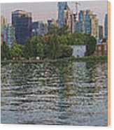 Panorama Of Coal Harbour And Vancouver Skyline At Dusk Wood Print