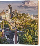 Panorama Of Downtown Seattle And Space Needle From Kerry Park - Seattle Washington State Wood Print