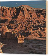 Panorama Of Hoodoos At Sunset Goblin Valley State Park Utah Wood Print