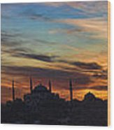 Panorama Of Istanbul Sunset- Call To Prayer Wood Print by David Smith