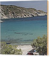 Panorama Of Mandrakia Fishing Village Milos Greece Wood Print