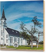 Panorama Of Sts. Cyril And Methodius Catholic Church - Dubina Texas Wood Print
