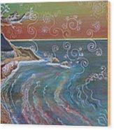 Panorama Of Pch At Big Sur Wood Print