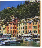 Panorama Of Portofino Harbour Italian Riviera Wood Print