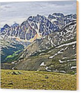 Panorama Of Rocky Mountains In Jasper National Park Wood Print