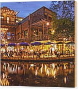 Panorama Of San Antonio Riverwalk At Dusk - Texas Wood Print