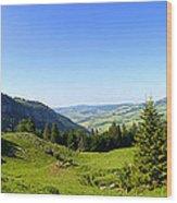 Panorama Of The Appenzeller Hills Near Mount Saentis Switzerland Wood Print
