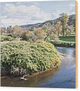 Panorama Of The Little River At Stowe Vermont Wood Print