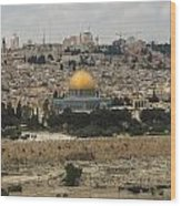 Panorama Of The Temple Mount Including Al-aqsa Mosque And Dome Wood Print