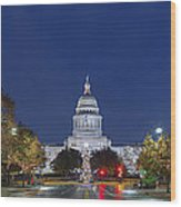 Panorama Of The Texas State Capitol At Christmas Wood Print