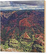 Panorama Of Waimea Canyon Hawaii Wood Print by David Smith