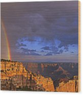 Panorama Rainbow Over Cape Royal North Rim Grand Canyon National Park Wood Print