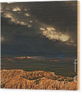 Panorama Storm Clouds Over Bryce Canyon National Park Utah Wood Print
