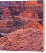 Panorama Sunrise At Dead Horse Point Utah Wood Print