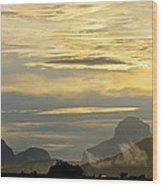 Panorama Sunset Aparaman And Towyen Tepuis Kavak Venezuela Wood Print