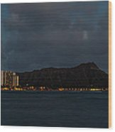 Panorama - Waikiki And Diamond Head In Honolulu Hawaii Skyline At Night Wood Print